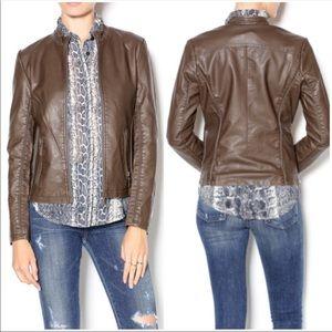 LA Coalition | Brown Vegan Leather Jacket sz S